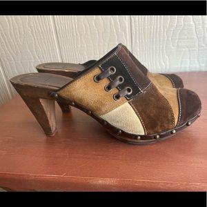 Coach Fallon Heel Shoe Sandals Brown Patchwork